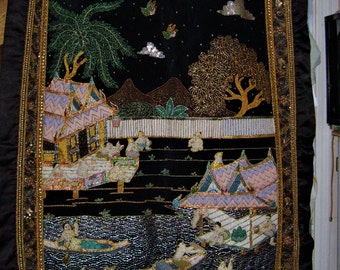 XXrare large vintage ASIAN TAPESTRY-heavy handmade applique',quilted VILLAGE scene,summer day-by sundar tun-