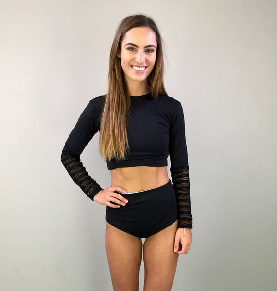 Black rashguard long sleeve laser cut crop top