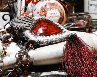Merry ChristMas Relics, Hearth, ex-votos, Religious jewels, Rhinestone TASSEL,