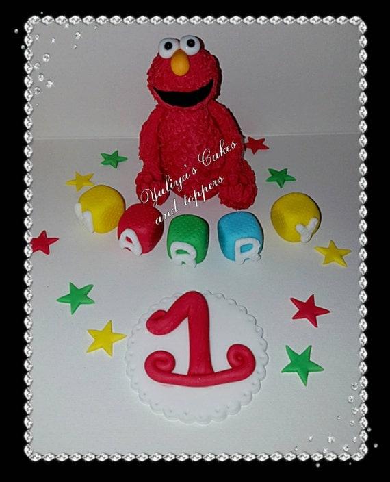 Elmo Cake Decorations : Edible Elmo cake topperbirthday blockshandmade