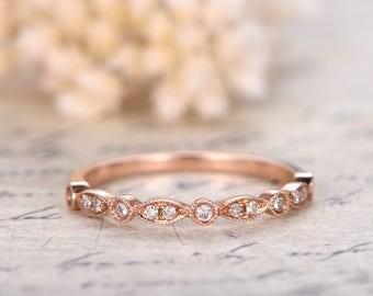 Valentine's Day Gift Wedding Bands Eternity Bands Bezel Engagement Ring Ring Milgrain Wedding Band Art Deco Diamond Wedding Ring 14k Gold