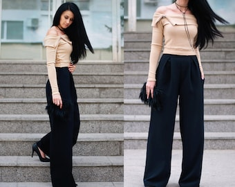 Wide Leg Pants /  High Waisted Pants / Women's Pants / Black Pants / Handmade Pants / Elegant Pants / Comfortable Pants