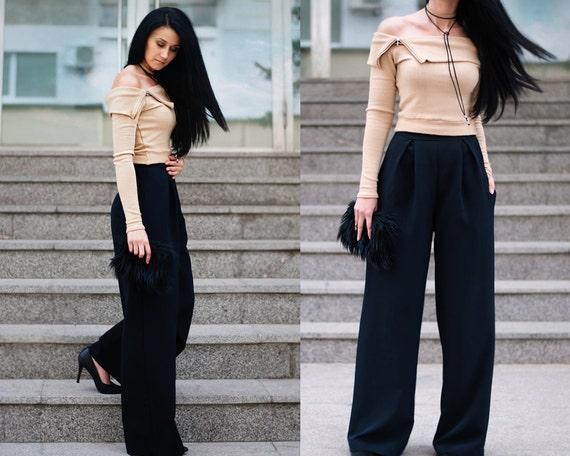 wide leg pants high waisted pants women 39 s pants. Black Bedroom Furniture Sets. Home Design Ideas