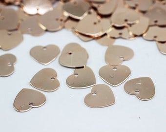 50 Pcs Rose Gold plated Heart Tags, 9x10 mm, Rose Gold plated Heart Charm, Mini Heart Tags, Heart Coins - Heart Disc, Heart Stamp