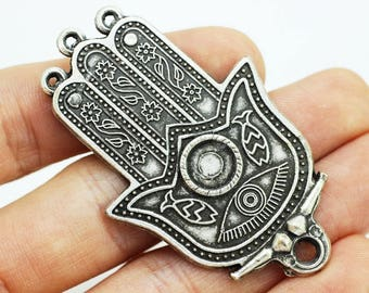 Large evil eye sun fish flower motif hamsa hand of fatima pendant 1 pc matt silver huge hamsa pendant 36x 59 mm huge hamsa charm large hand design charm with four holes necklace pendant mozeypictures Image collections
