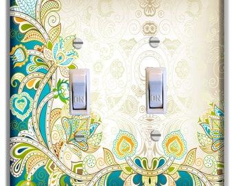 Blue Teal Tan Flowers Light Switch Plate Cover Girls Nursery Decor Pattern Print