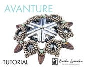AVAnture pendant - instant download for the pdf instructions. Pendant with Chili beads, AVA beads, rivoli cabochons, 2-hole beads.