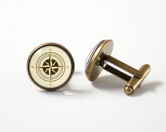Compass cuff links Mentor gift Anniversary gift Travel cufflinks Compass accessory Compass jewellery Old compass Compass jewelry Nautical