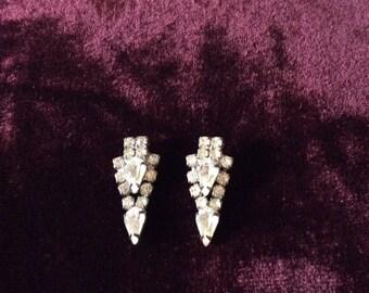 Rhinestone earrings / vintage / classic / style / formal wear / elegant