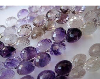 ON SALE 50% Rutilated Amethyst, Amethyst Rutile, Faceted Onion Briolette Beads, 7mm Beads, 28 Pieces, 4.5 Inch Half Strand