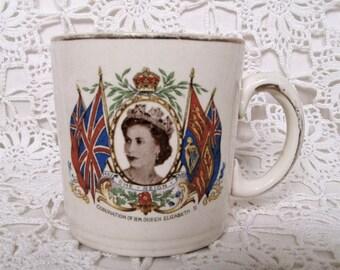 Queen Elizabeth II Coronation Cup 1953. Alfred Meakin Coronation Mug. Liverpool Coronation Mug. Queen's Coronation Mug. Royal Souvenir.