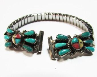 Vintage Estate Ernest Zunie E.A. Zunie Zuni Turquoise Inlaid Watch Tips with Band