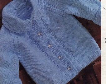Vintage Baby Jacket Knitting Pattern, Emu 8244 Knitting Pattern Baby top pattern, baby pattern, baby jacket pattern