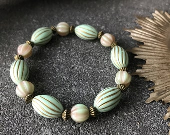 vintage Victorian bracelet with mint pearls and pink and green melon beads