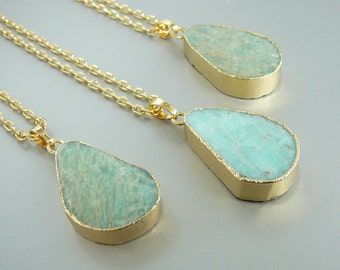 Amazonite Necklace Amazonite Pendants Gift for Women Gemstone Necklace Long Necklace Pendant necklace Natural amazonite necklace women