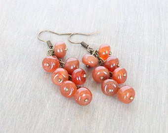 Carnelian Cluster Earrings - Dangle Earrings, Bronze Earrings, Orange Earrings, Gemstone Earrings, Statement Earrings, Boho Earrings
