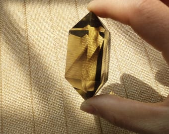 Citrine Point Double Terminated,Healing Crystal Pyramid,Reiki Therapy,Protection, Wicca, Pagan,Healing