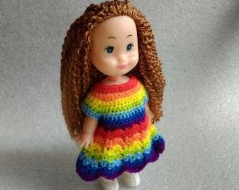 Rainbow Dress for Doll Crochet Dresses for Dolls Dollhouse Doll Clothes Doll Clothing Miniature Clothes Dollhouse Custom Dress for Doll