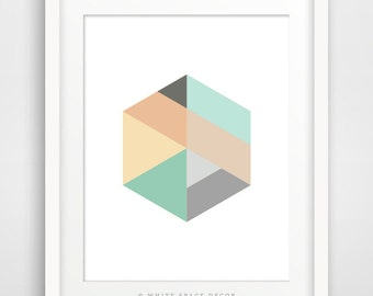 Hexagon printable abstract wall art Hexagon poster minimalist poster scandinavian print Scandinavian decor nordic print geometric printable