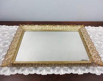 Vintage Large Rectangular Mirrored Tray with Gold Filigree Edging