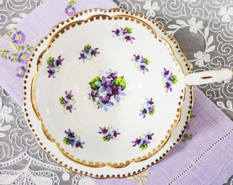 Royal Stafford Sweet Violets English Bone China Teacup and Saucer