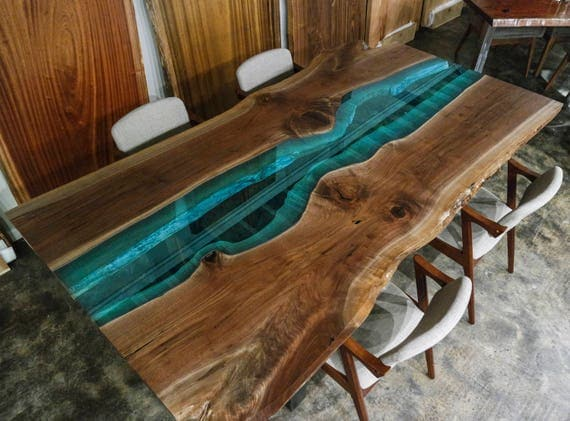 Custom Walnut With Blue Glass River Live Edge Dining Tables