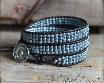 Beaded Wrap Bracelet, Wrap Cuff Bracelet, Wrap Bracelet, Leather Wrap Bracelet, Triple Wrap Boho Bracelet, Triple Wrap Bracelet,