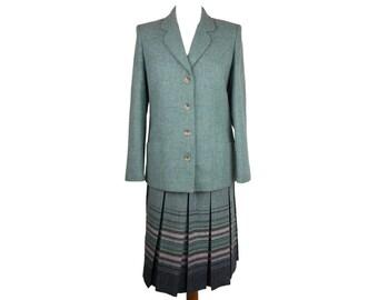Vintage Edinburgh Woollen Mill Pure Wool 2 Piece Suit Pleated Skirt Button Front Jacket Green UK 10