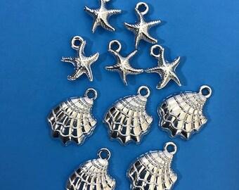 Set of 10 Beach Charms - Starfish and Shell Charms
