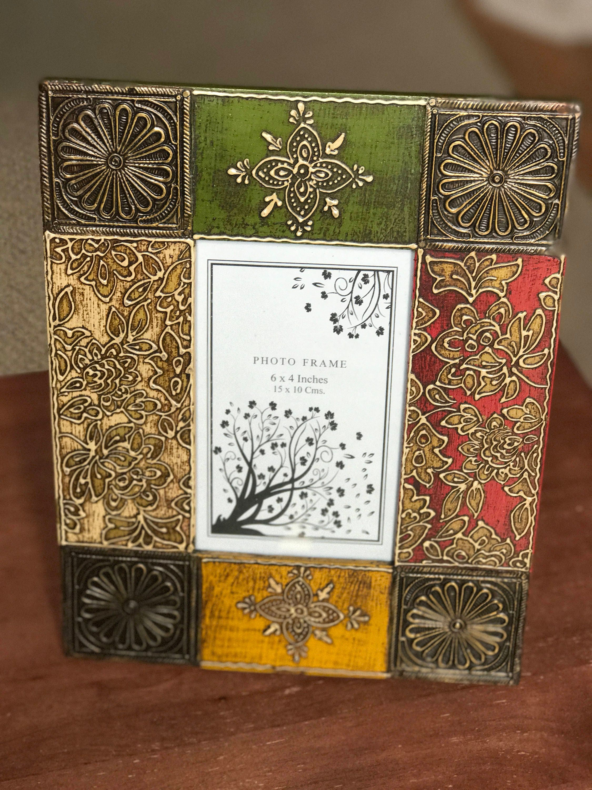 Multicolored wood picture frame from india 8x10 photo frame fits multicolored wood picture frame from india 8x10 photo frame fits 4x6 pics handmade painted and embossed wood frame with brass fitting jeuxipadfo Images