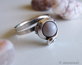 Ring ethnic Indian agate - old plating silver - grey pink