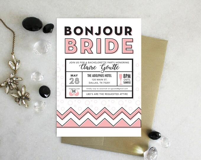 PRINTABLE Bachelorette Party Invitation | Bonjour Bride