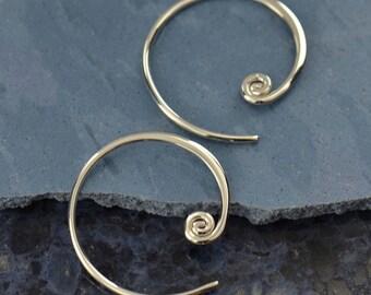 Boho Circle Curled Hoop Earrings 925 Sterling Silver Swirl Bohemian Geometric Design Zen Minimalist