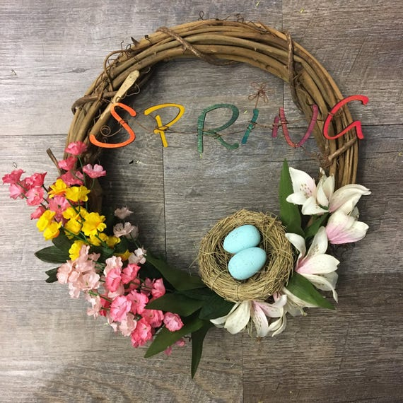 "12"" Grapevine Wreath with Spring Wood Letters and Robin's Egg Nest and Floral Arrangement"