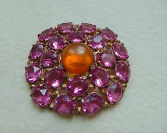 Vintage Retro orange and pink  pin rhinestones  brooch