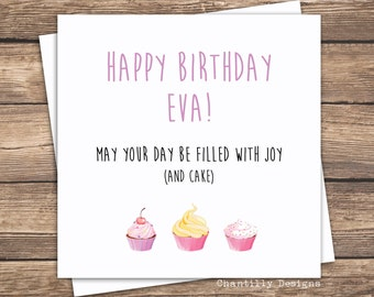 Personalised Cupcake Birthday Card For Her - Best Friend Birthday - Mum Birthday - Cute Birthday Card For Her - Cake Birthday Card