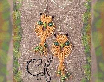 Earrings macramé owls