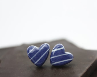 Navy Porcelain Stud Earring, with chocolate style gift box / By Cookie Factory