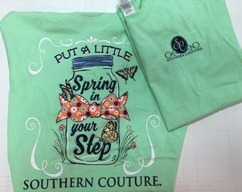 Southern Couture Spring in your step tee shirt new
