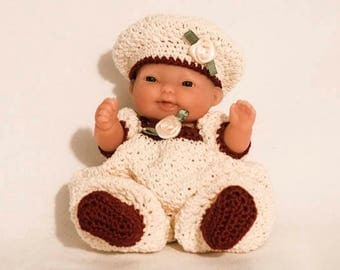 Cream/Burgundy Romper Outfit for the Itty Bitty Baby by Berenguer Lots to Love Baby Doll