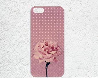 iPhone 6 case floral - Available for iPhone 7 plus, iPhone 6 plus, iPhone 5, iPhone SE - pink rose iphone cases - polka dots iphone cover