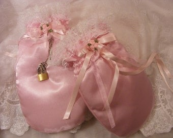 sissy adult baby ABDL pink satin padded mittens opt ribbon or chain and padlock also opt bells cosplay