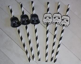 12 Star Wars Paper Straws - Storm Trooper & Darth Vader | Star Wars Party Straws