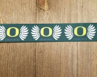 University of Oregon Ducks 7/8 Inch Grosgrain Ribbon