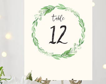 Printable Greenery Table Number Cards for Wedding