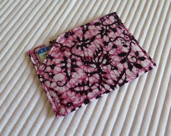 Card holder CNI KOKA - Size French identity - Batik black, pink phoenix