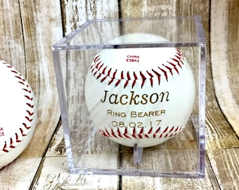 Ring Bearer Gift, Personalized Laser Engraved Baseball, Custom Baseball, Ring Security, RingBearer Gift, Junior Groomsman, Baseball Gift