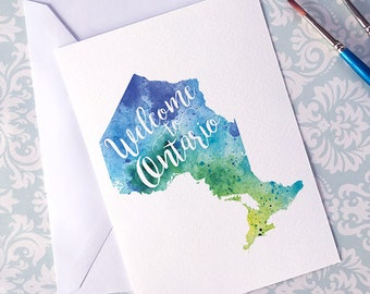 Ontario Watercolour Map Greeting Card, Welcome to Ontario Hand Lettered Text, Gift or Postcard, Giclée Print, Map Art, Choose From 5 Colours