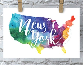 Custom United States Map Art, USA Watercolor Heart Map Home Decor, New York or Your City Hand Lettering, Personalized Giclee Print, 5 Colors
