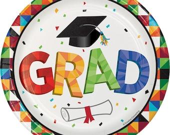 Graduation 2017 Party Supplies/Graduation Dessert Plates/Graduation Plates 8 Pack